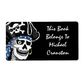 Etiqueta del cráneo del pirata etiquetas de envío