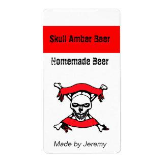 Etiqueta del cráneo y de la cerveza de los huesos etiqueta de envío