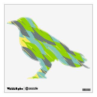 Etiqueta del cuervo del modelo de la pluma vinilo