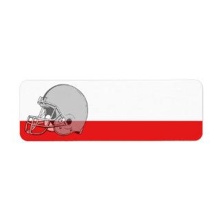 Etiqueta del deporte del casco de fútbol americano etiquetas de remite