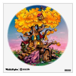 Etiqueta del dibujo animado de la casa del árbol