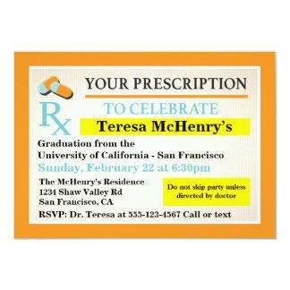 """Etiqueta del doctor Medical Graduation Invitación 5"""" X 7"""""""