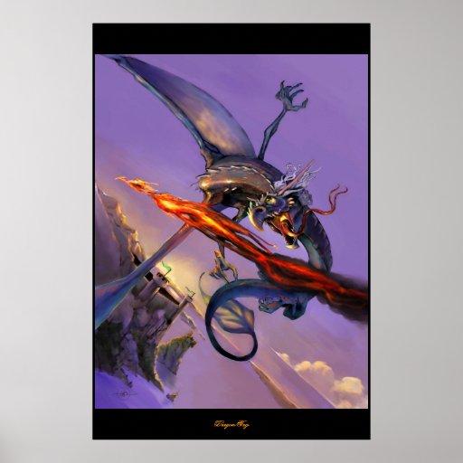 Etiqueta del dragón póster