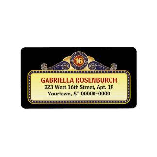 Etiqueta del dulce 16 de la carpa del teatro etiqueta de dirección