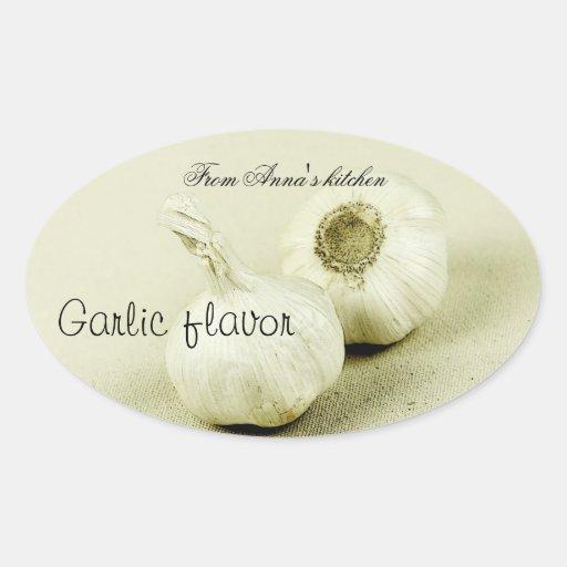Etiqueta del envase de comida del sabor del ajo