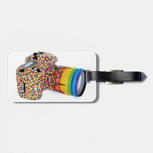 etiqueta del equipaje, cámara del caramelo etiquetas bolsa