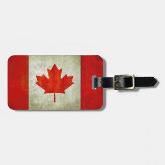 Etiqueta del equipaje con la bandera canadiense etiquetas de maletas
