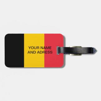 Etiqueta del equipaje con la bandera de Bélgica Etiquetas Para Maletas