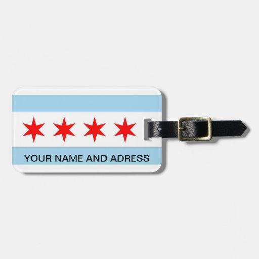 Etiqueta del equipaje con la bandera de Chicago, I Etiquetas De Maletas