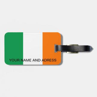 Etiqueta del equipaje con la bandera de Irlanda Etiqueta Para Equipaje