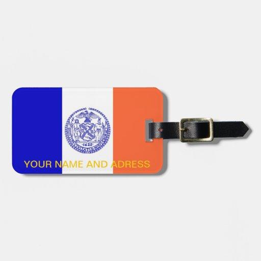 Etiqueta del equipaje con la bandera de Nueva York Etiquetas Para Equipaje