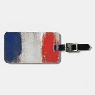 Etiqueta del equipaje con la bandera francesa fres etiquetas de equipaje