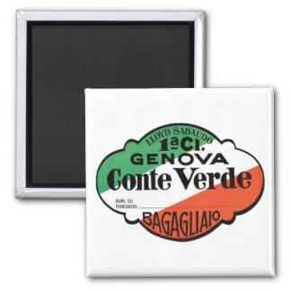 Etiqueta del equipaje de Génova Conte Verde Imán Cuadrado