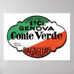 Etiqueta del equipaje de Génova Conte Verde Poster