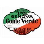 Etiqueta del equipaje de Génova Conte Verde Tarjeta Postal