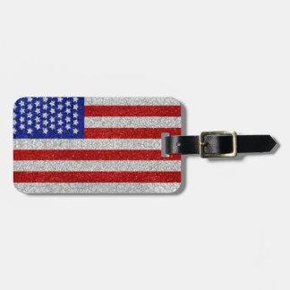 Etiqueta del equipaje de la bandera americana del  etiquetas maletas