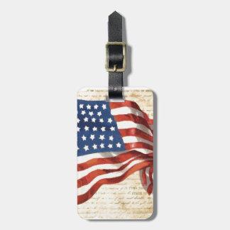 Etiqueta del equipaje de la bandera americana del  etiqueta de equipaje