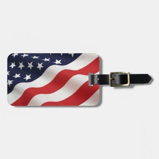 Etiqueta del equipaje de la bandera americana etiquetas bolsas
