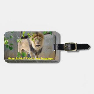 Etiqueta del equipaje de la fauna del león