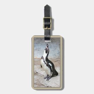 Etiqueta del equipaje de la foto del pingüino de etiquetas de equipaje