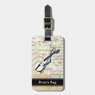 Etiqueta del equipaje de la música del violín del  etiqueta de equipaje