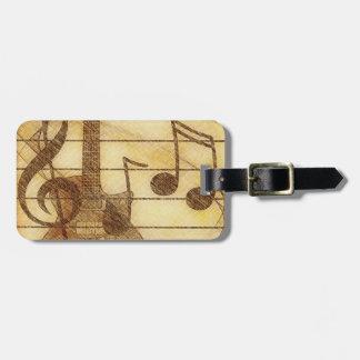 Etiqueta del equipaje de la música y de la guitarr etiquetas bolsas