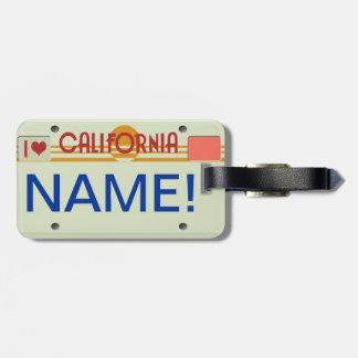Etiqueta del equipaje de la placa de California Etiquetas Bolsas