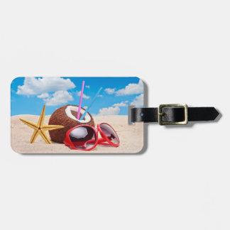 Etiqueta del equipaje de la playa etiqueta de equipaje