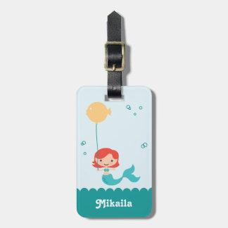 Etiqueta del equipaje de la sirena etiquetas bolsas