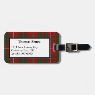 Etiqueta del equipaje de la tela escocesa de tartá etiquetas maleta