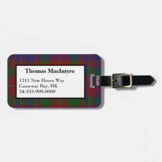 Etiqueta del equipaje de la tela escocesa de tartá etiqueta para equipaje