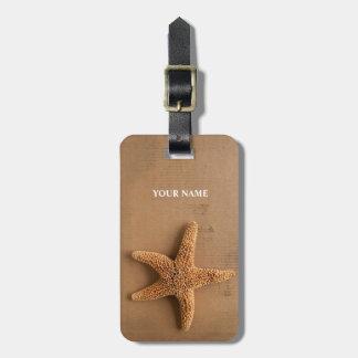 Etiqueta del equipaje de las estrellas de mar etiqueta de maleta