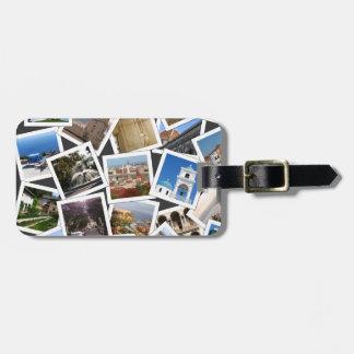 Etiqueta del equipaje de las fotos del viaje etiquetas maleta