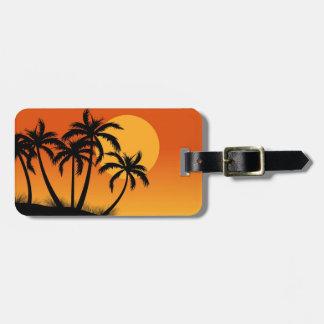 Etiqueta del equipaje de las palmeras de la playa