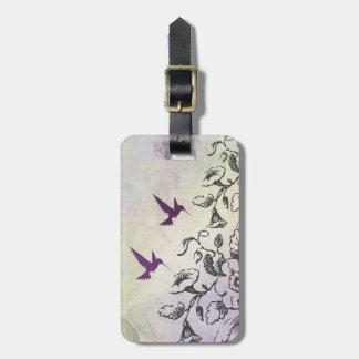 Etiqueta del equipaje de los colibríes y de las etiqueta para equipaje