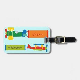 Etiqueta del equipaje del aeroplano del niño (pers etiquetas para equipaje