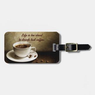 Etiqueta del equipaje del amante del café etiquetas bolsas
