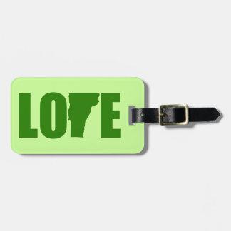 Etiqueta del equipaje del amor de Vermont Etiquetas Bolsa
