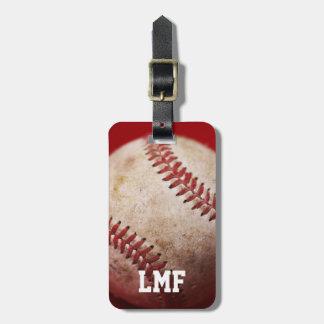 Etiqueta del equipaje del béisbol con el monograma etiquetas bolsas