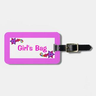 Etiqueta del equipaje del bolso del chica