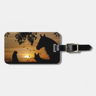 Etiqueta del equipaje del caballo, del perro y del etiqueta para equipaje