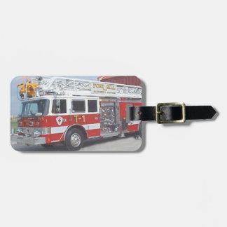 Etiqueta del equipaje del coche de bomberos etiquetas bolsa