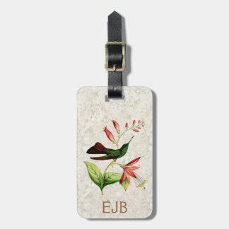 Etiqueta del equipaje del colibrí de Plumeleteer Etiquetas De Maletas