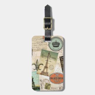 Etiqueta del equipaje del collage del viaje del vi
