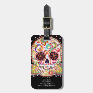¡Etiqueta del equipaje del cráneo del azúcar - Etiquetas Maletas