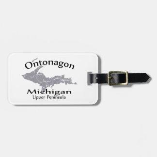 Etiqueta del equipaje del diseño del mapa de Onton
