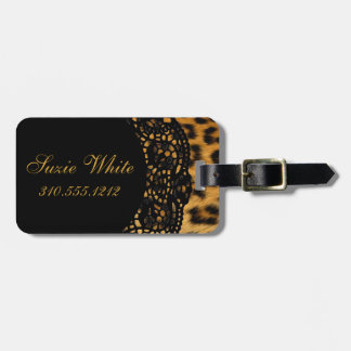 Etiqueta del equipaje del estampado leopardo