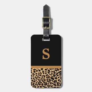 Etiqueta del equipaje del estampado leopardo del