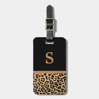 Etiqueta del equipaje del estampado leopardo del m etiquetas maleta