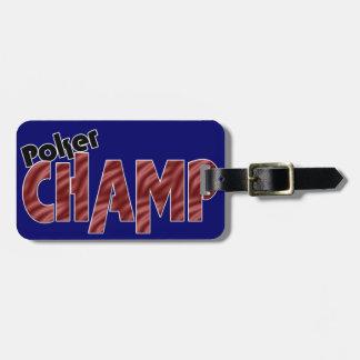 Etiqueta del equipaje del jugador de tarjeta del c etiquetas para equipaje